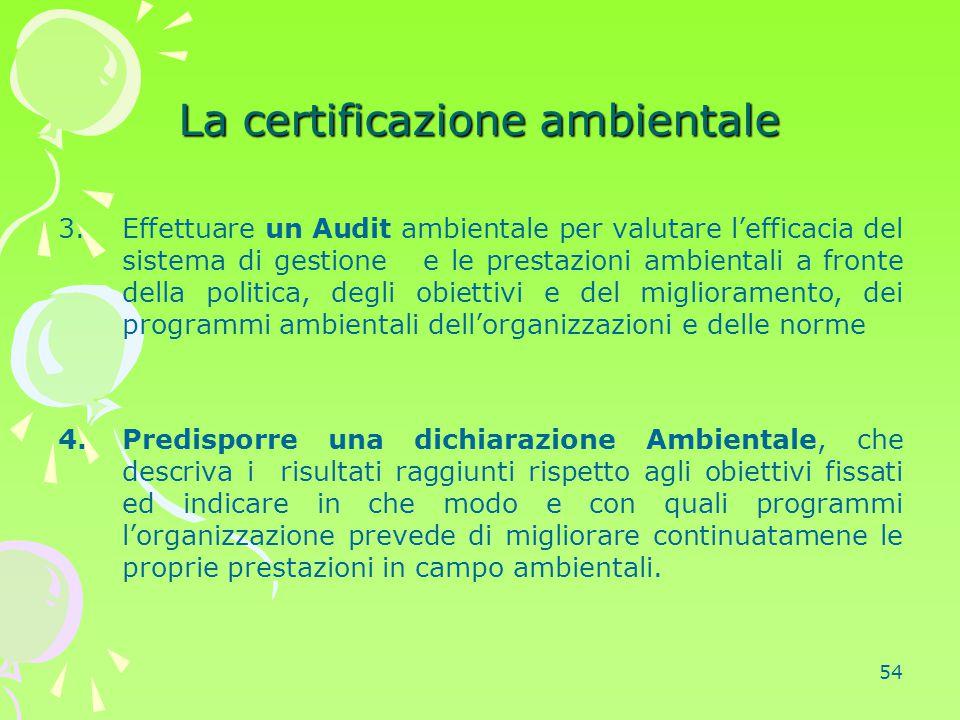 54 La certificazione ambientale 3.Effettuare un Audit ambientale per valutare l'efficacia del sistema di gestione e le prestazioni ambientali a fronte