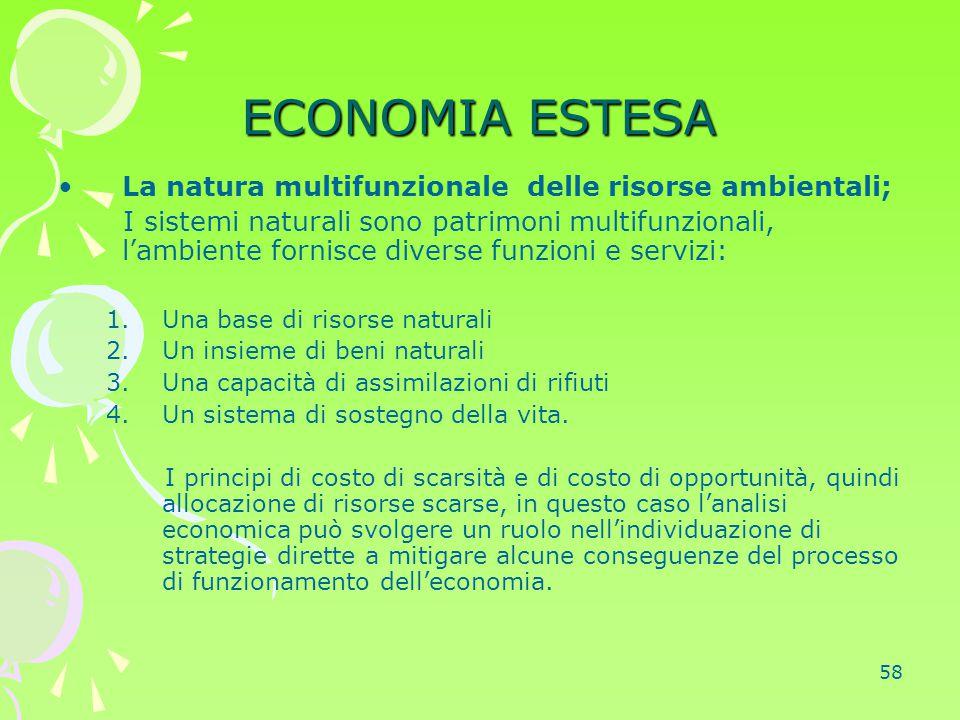 58 ECONOMIA ESTESA La natura multifunzionale delle risorse ambientali; I sistemi naturali sono patrimoni multifunzionali, l'ambiente fornisce diverse