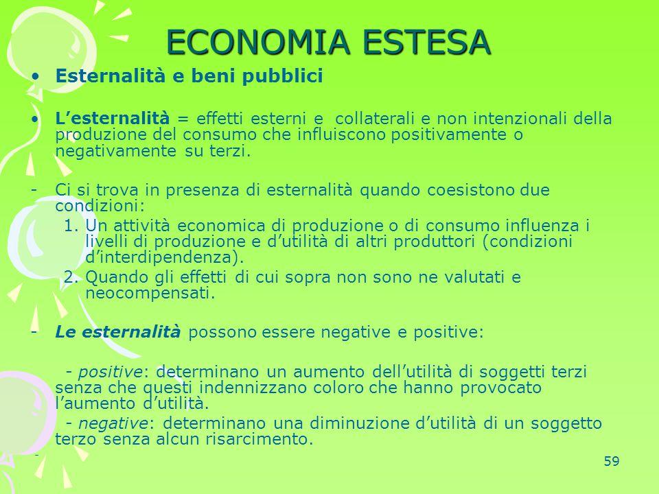 59 ECONOMIA ESTESA Esternalità e beni pubblici L'esternalità = effetti esterni e collaterali e non intenzionali della produzione del consumo che influ