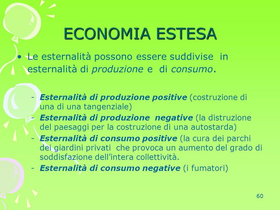 60 ECONOMIA ESTESA Le esternalità possono essere suddivise in esternalità di produzione e di consumo. -Esternalità di produzione positive (costruzione