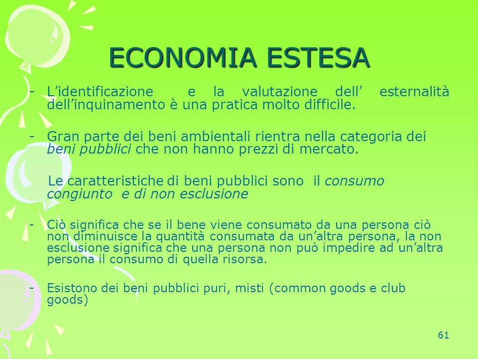 61 ECONOMIA ESTESA -L'identificazione e la valutazione dell' esternalità dell'inquinamento è una pratica molto difficile. -Gran parte dei beni ambient