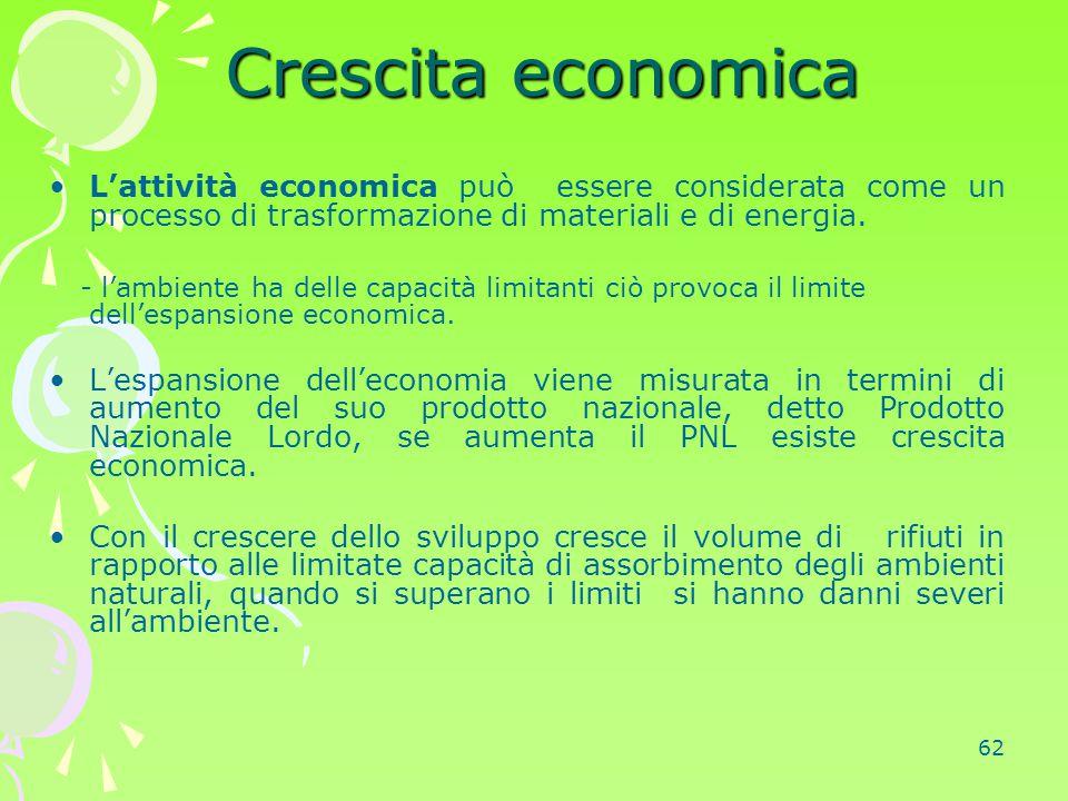 62 Crescita economica Crescita economica L'attività economica può essere considerata come un processo di trasformazione di materiali e di energia. - l