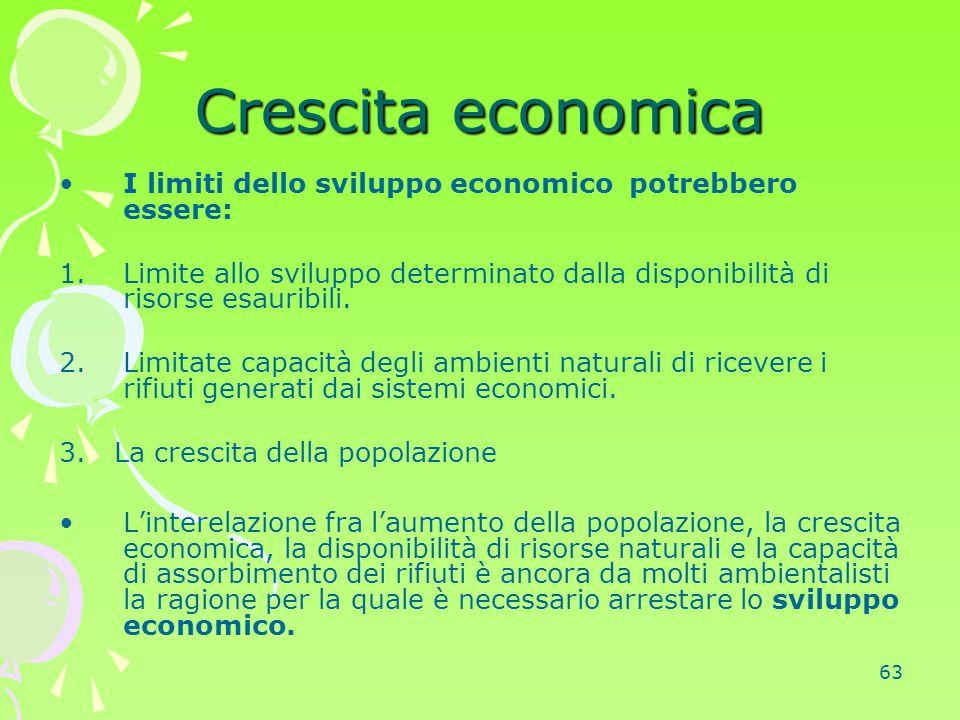 63 Crescita economica I limiti dello sviluppo economico potrebbero essere: 1.Limite allo sviluppo determinato dalla disponibilità di risorse esauribil