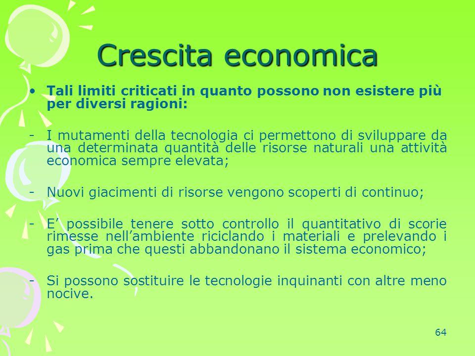 64 Crescita economica Tali limiti criticati in quanto possono non esistere più per diversi ragioni: -I mutamenti della tecnologia ci permettono di svi
