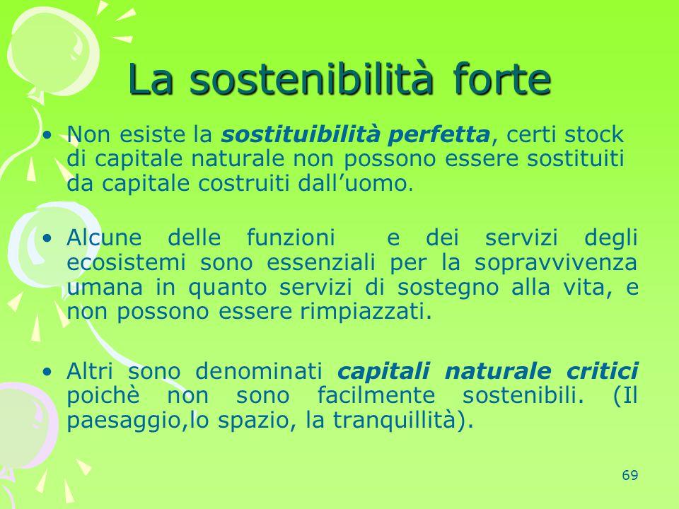 69 La sostenibilità forte Non esiste la sostituibilità perfetta, certi stock di capitale naturale non possono essere sostituiti da capitale costruiti