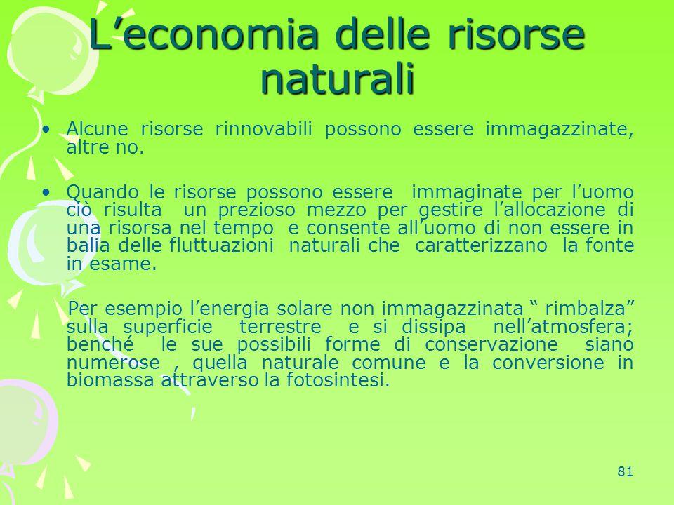 81 L'economia delle risorse naturali Alcune risorse rinnovabili possono essere immagazzinate, altre no. Quando le risorse possono essere immaginate pe