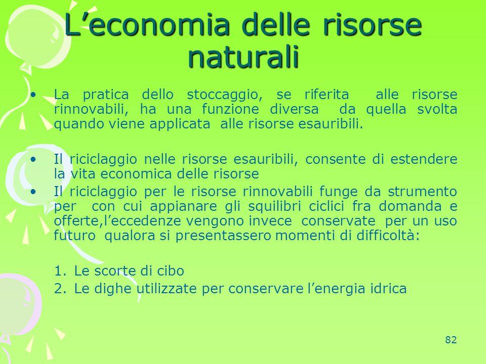 82 L'economia delle risorse naturali La pratica dello stoccaggio, se riferita alle risorse rinnovabili, ha una funzione diversa da quella svolta quand