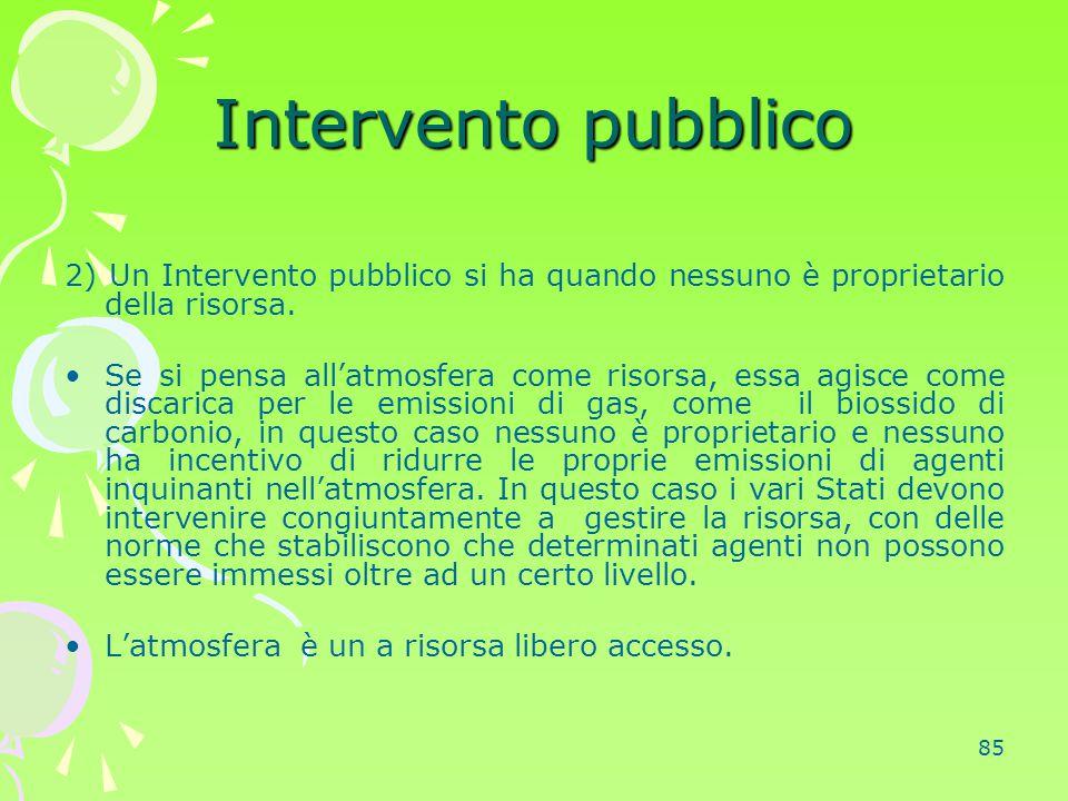 85 Intervento pubblico 2) Un Intervento pubblico si ha quando nessuno è proprietario della risorsa. Se si pensa all'atmosfera come risorsa, essa agisc