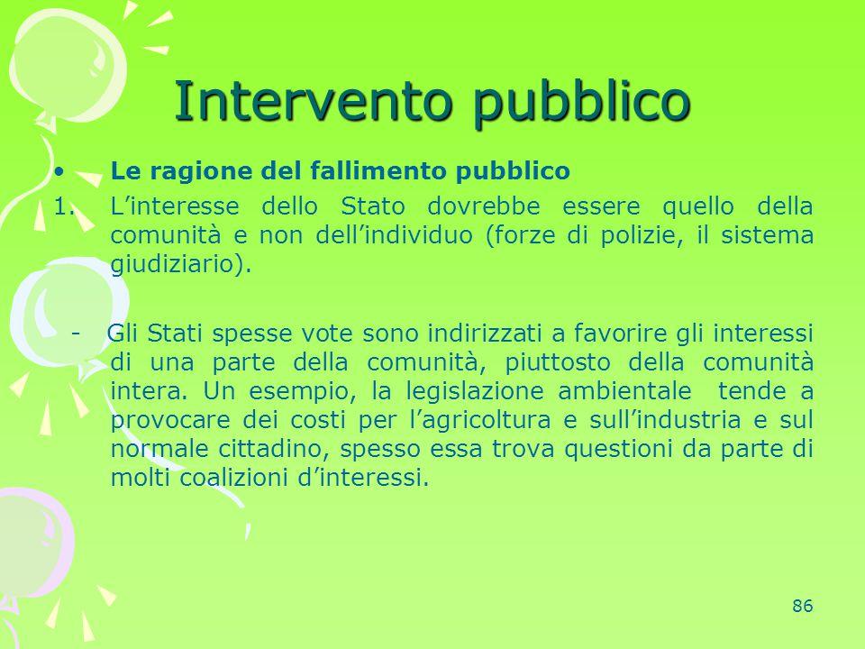 86 Intervento pubblico Le ragione del fallimento pubblico 1.L'interesse dello Stato dovrebbe essere quello della comunità e non dell'individuo (forze
