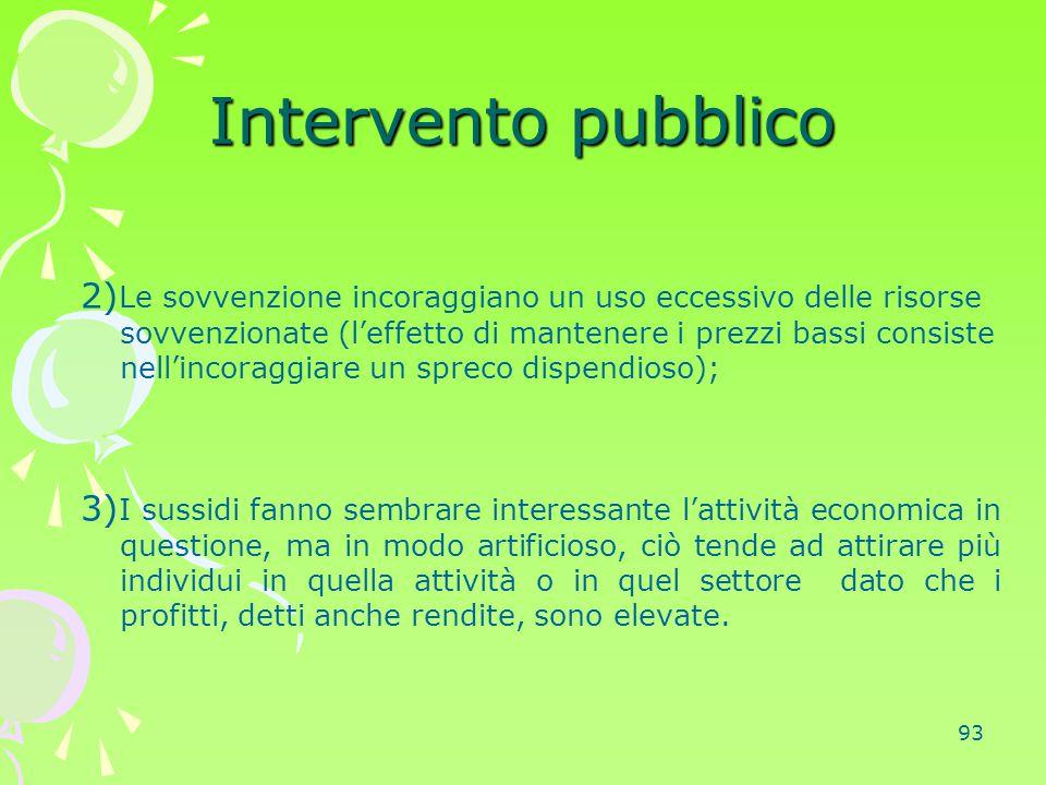 93 Intervento pubblico 2) Le sovvenzione incoraggiano un uso eccessivo delle risorse sovvenzionate (l'effetto di mantenere i prezzi bassi consiste nel