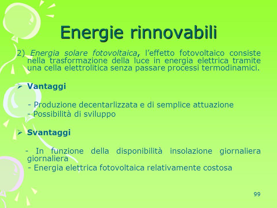 99 Energie rinnovabili 2) Energia solare fotovoltaica, l'effetto fotovoltaico consiste nella trasformazione della luce in energia elettrica tramite un