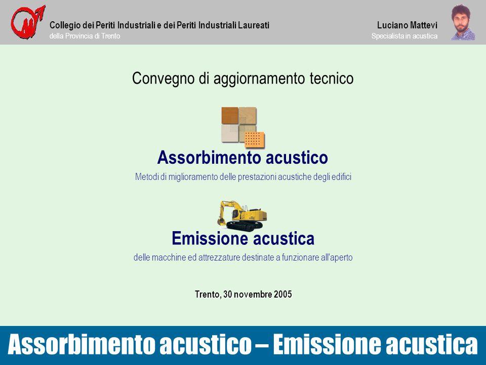 Convegno di aggiornamento tecnico Assorbimento acustico Metodi di miglioramento delle prestazioni acustiche degli edifici Assorbimento acustico – Emis