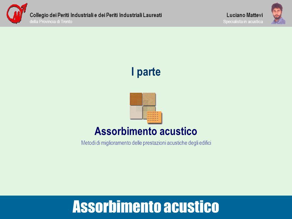I parte Collegio dei Periti Industriali e dei Periti Industriali Laureati della Provincia di Trento Assorbimento acustico Luciano Mattevi Specialista