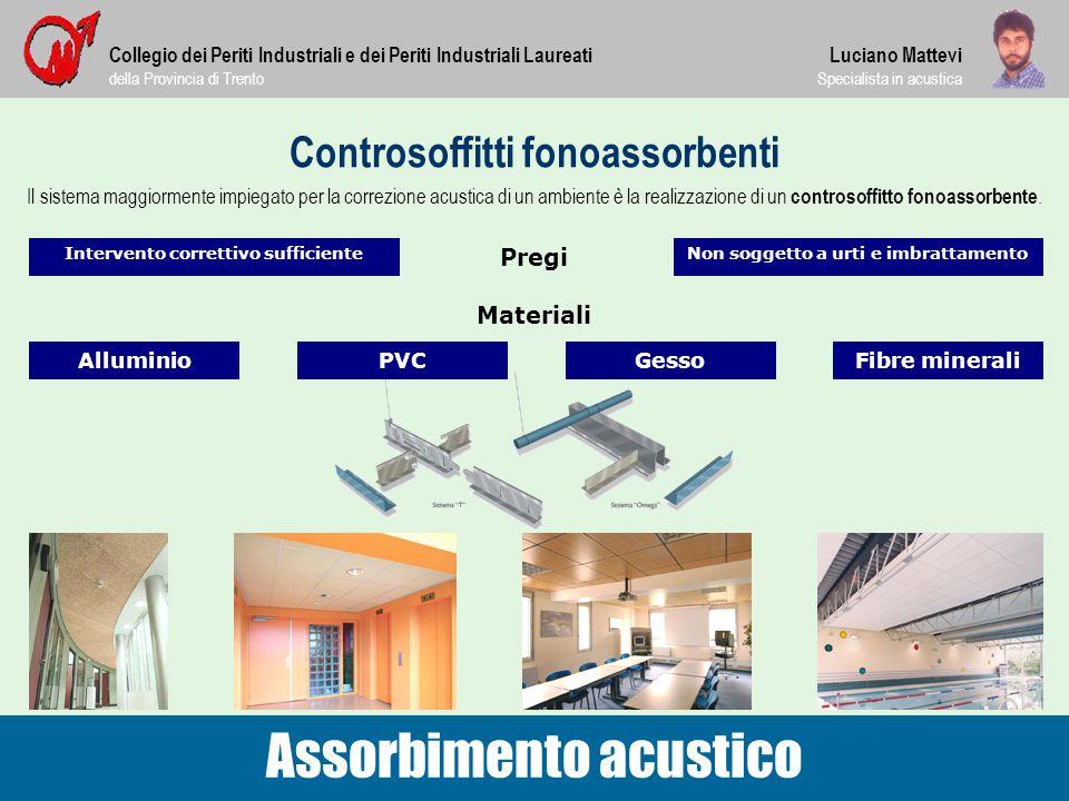 Controsoffitti fonoassorbenti Collegio dei Periti Industriali e dei Periti Industriali Laureati della Provincia di Trento Assorbimento acustico Lucian