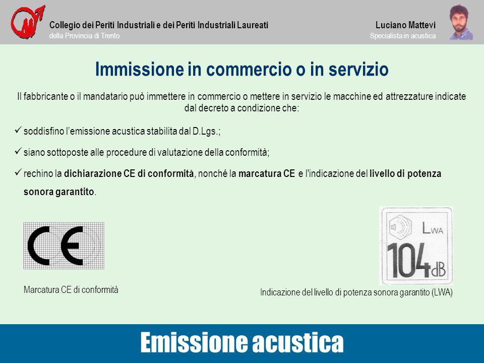 Immissione in commercio o in servizio Collegio dei Periti Industriali e dei Periti Industriali Laureati della Provincia di Trento Luciano Mattevi Spec