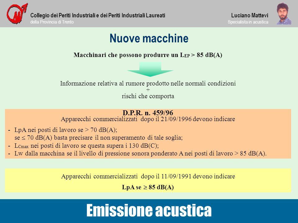 Nuove macchine Collegio dei Periti Industriali e dei Periti Industriali Laureati della Provincia di Trento Luciano Mattevi Specialista in acustica Emi