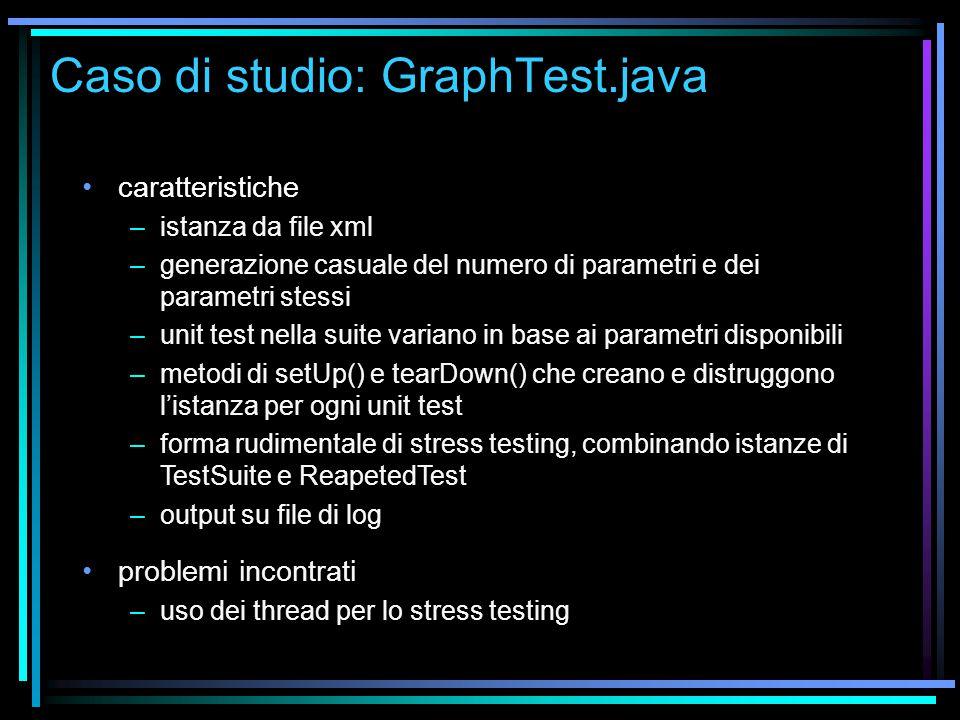 Caso di studio: GraphTest.java caratteristiche –istanza da file xml –generazione casuale del numero di parametri e dei parametri stessi –unit test nel