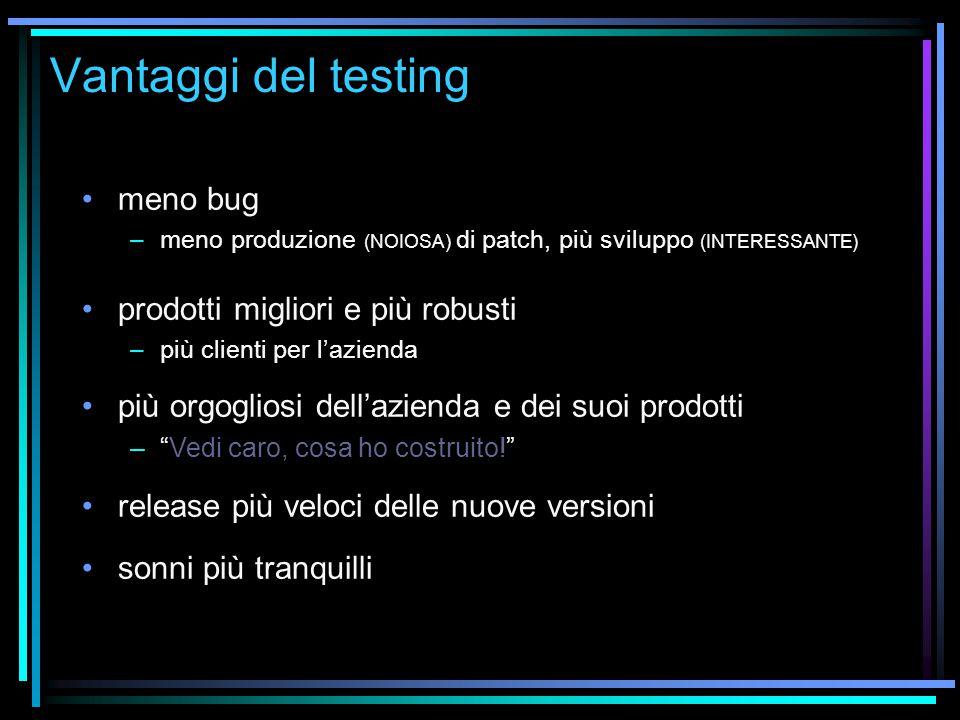 Vantaggi del testing meno bug –meno produzione (NOIOSA) di patch, più sviluppo (INTERESSANTE) prodotti migliori e più robusti –più clienti per l'azien