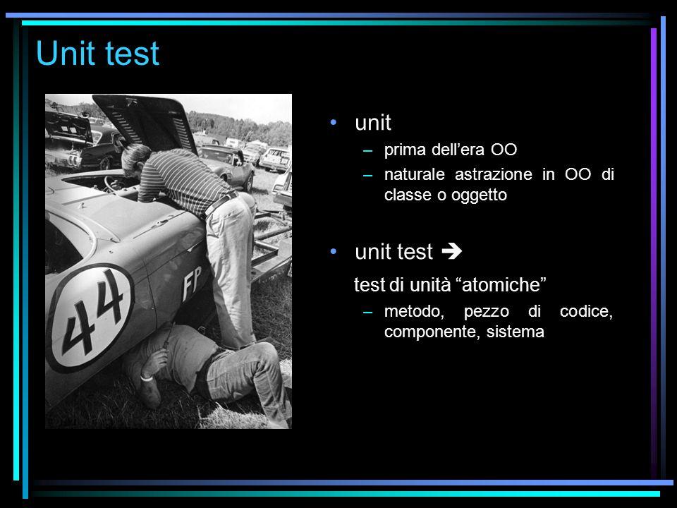 Unit test unit –prima dell'era OO –naturale astrazione in OO di classe o oggetto unit test  test di unità atomiche –metodo, pezzo di codice, componente, sistema