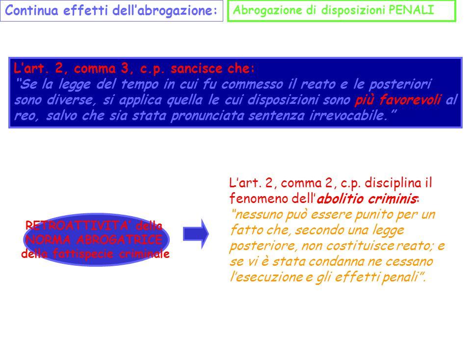 """Continua effetti dell'abrogazione: Abrogazione di disposizioni PENALI L'art. 2, comma 3, c.p. sancisce che: """"Se la legge del tempo in cui fu commesso"""