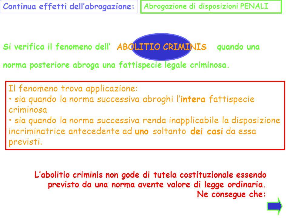 Continua effetti dell'abrogazione: Abrogazione di disposizioni PENALI Si verifica il fenomeno dell' ABOLITIO CRIMINIS quando una norma posteriore abro