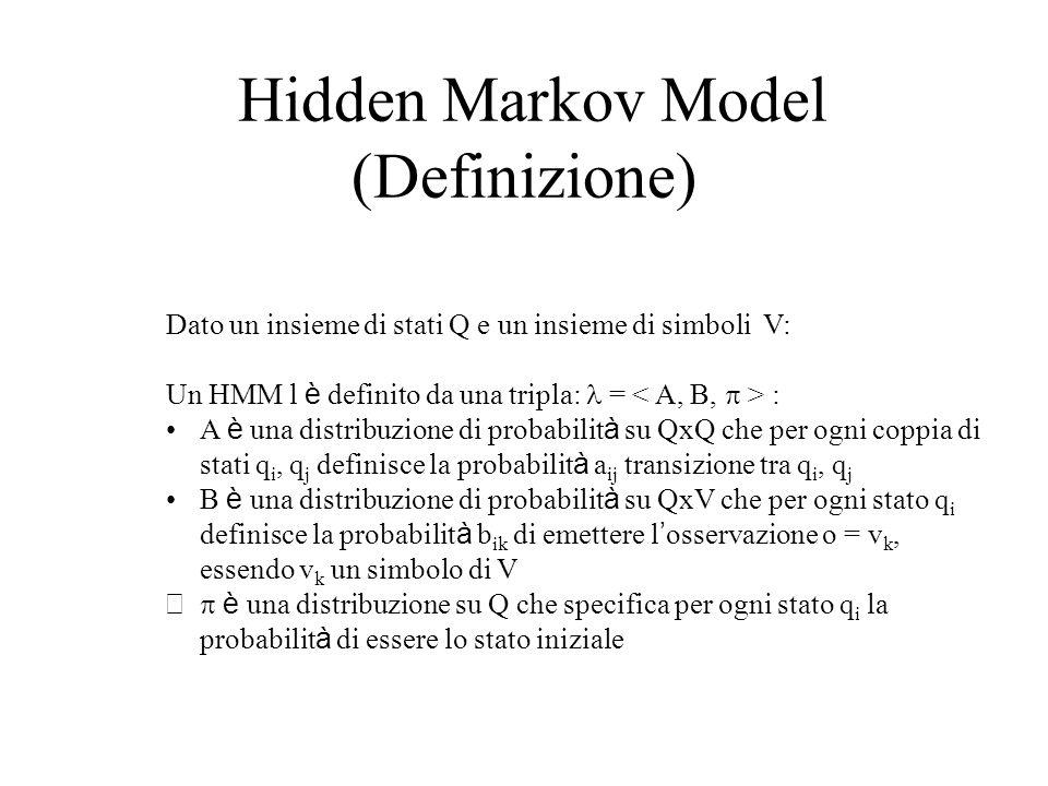 Hidden Markov Model (Definizione) Dato un insieme di stati Q e un insieme di simboli V: Un HMM l è definito da una tripla: = : A è una distribuzione di probabilit à su QxQ che per ogni coppia di stati q i, q j definisce la probabilit à a ij transizione tra q i, q j B è una distribuzione di probabilit à su QxV che per ogni stato q i definisce la probabilit à b ik di emettere l ' osservazione o = v k, essendo v k un simbolo di V  è una distribuzione su Q che specifica per ogni stato q i la probabilit à di essere lo stato iniziale