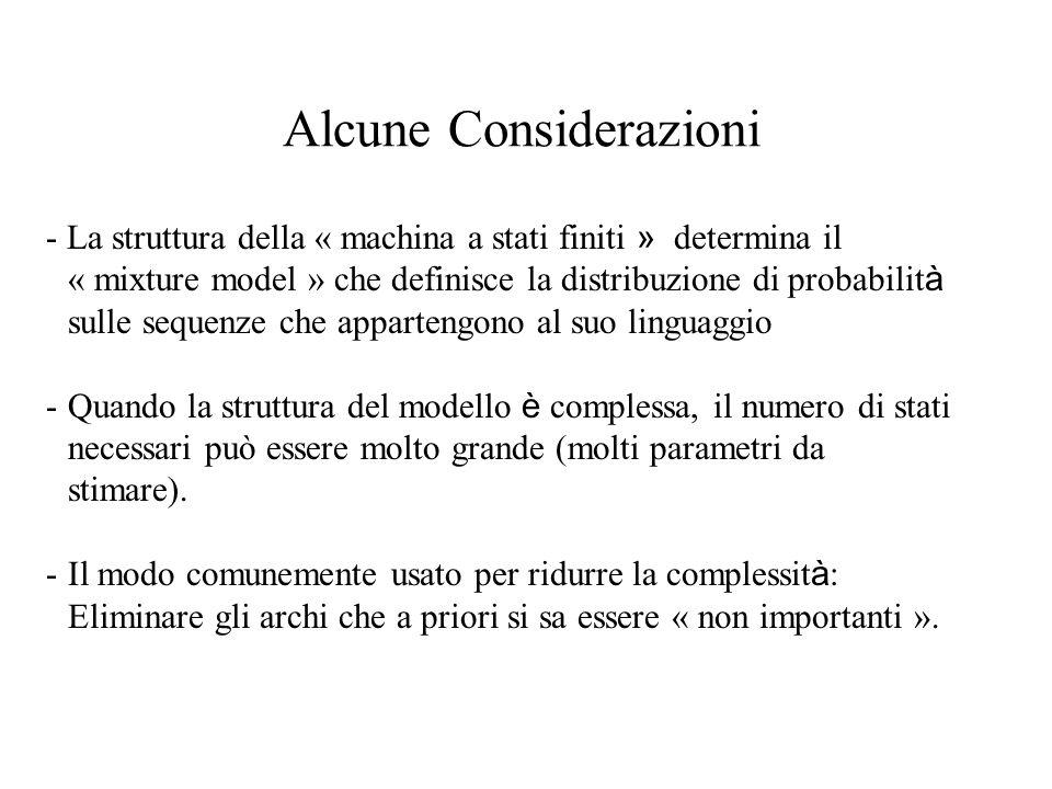Alcune Considerazioni - La struttura della « machina a stati finiti » determina il « mixture model » che definisce la distribuzione di probabilit à sulle sequenze che appartengono al suo linguaggio -Quando la struttura del modello è complessa, il numero di stati necessari può essere molto grande (molti parametri da stimare).