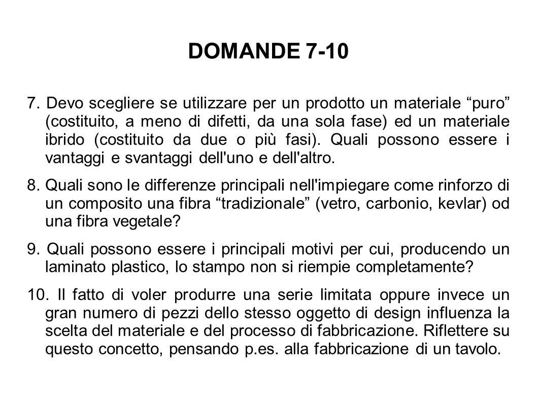 """DOMANDE 7-10 7. Devo scegliere se utilizzare per un prodotto un materiale """"puro"""" (costituito, a meno di difetti, da una sola fase) ed un materiale ibr"""