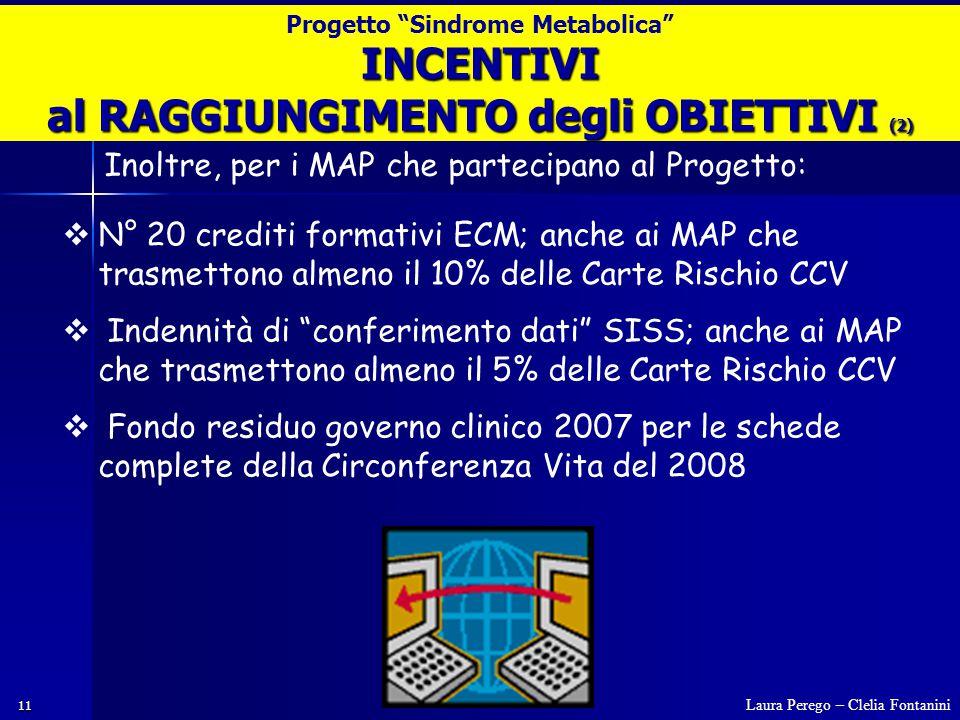 11  N° 20 crediti formativi ECM; anche ai MAP che trasmettono almeno il 10% delle Carte Rischio CCV  Indennità di conferimento dati SISS; anche ai MAP che trasmettono almeno il 5% delle Carte Rischio CCV  Fondo residuo governo clinico 2007 per le schede complete della Circonferenza Vita del 2008 INCENTIVI al RAGGIUNGIMENTO degli OBIETTIVI (2) Laura Perego – Clelia Fontanini Progetto Sindrome Metabolica Inoltre, per i MAP che partecipano al Progetto: