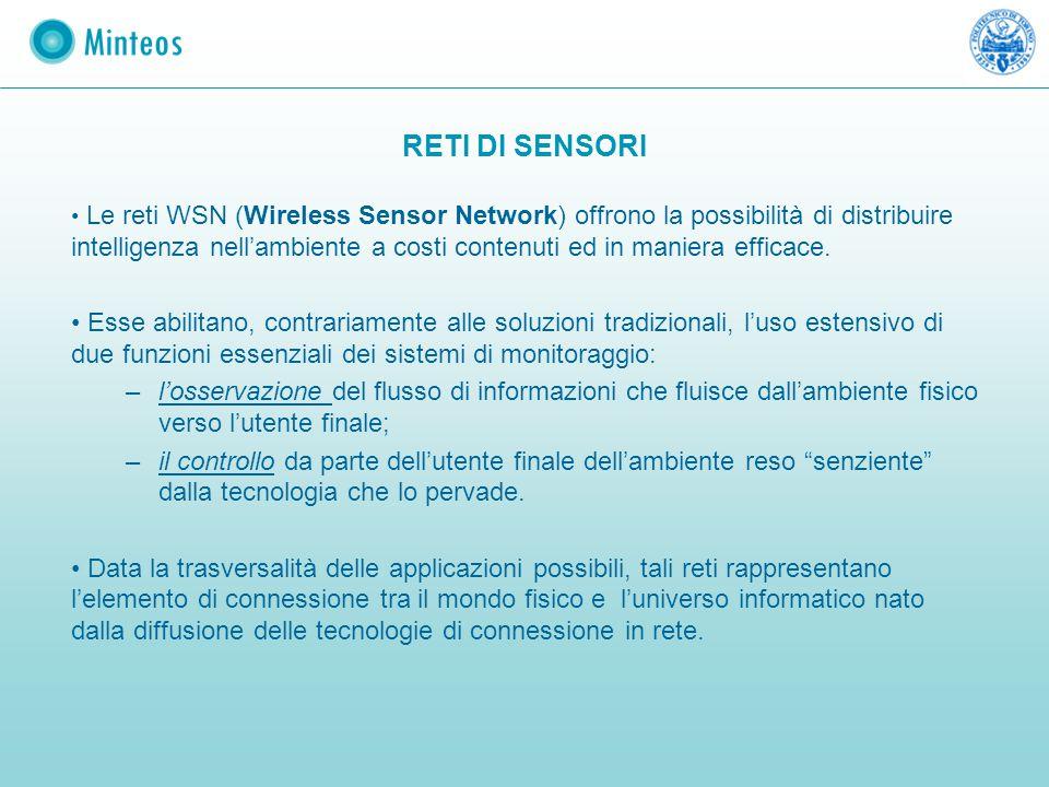 RETI DI SENSORI Le reti WSN (Wireless Sensor Network) offrono la possibilità di distribuire intelligenza nell'ambiente a costi contenuti ed in maniera
