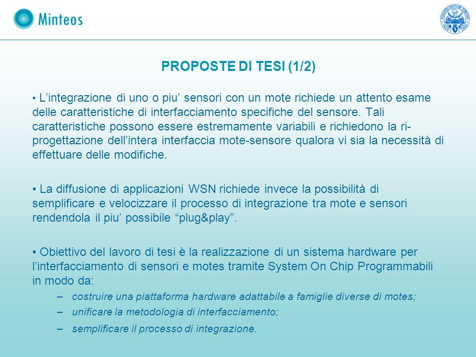 PROPOSTE DI TESI (1/2) L'integrazione di uno o piu' sensori con un mote richiede un attento esame delle caratteristiche di interfacciamento specifiche