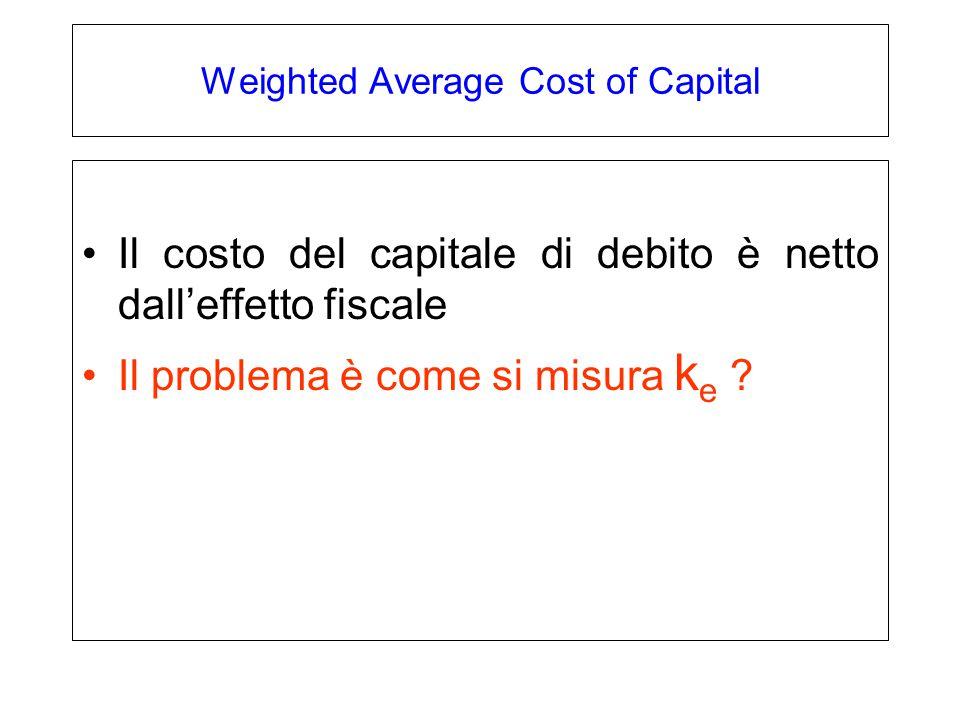 Weighted Average Cost of Capital Il costo del capitale di debito è netto dall'effetto fiscale Il problema è come si misura k e ?