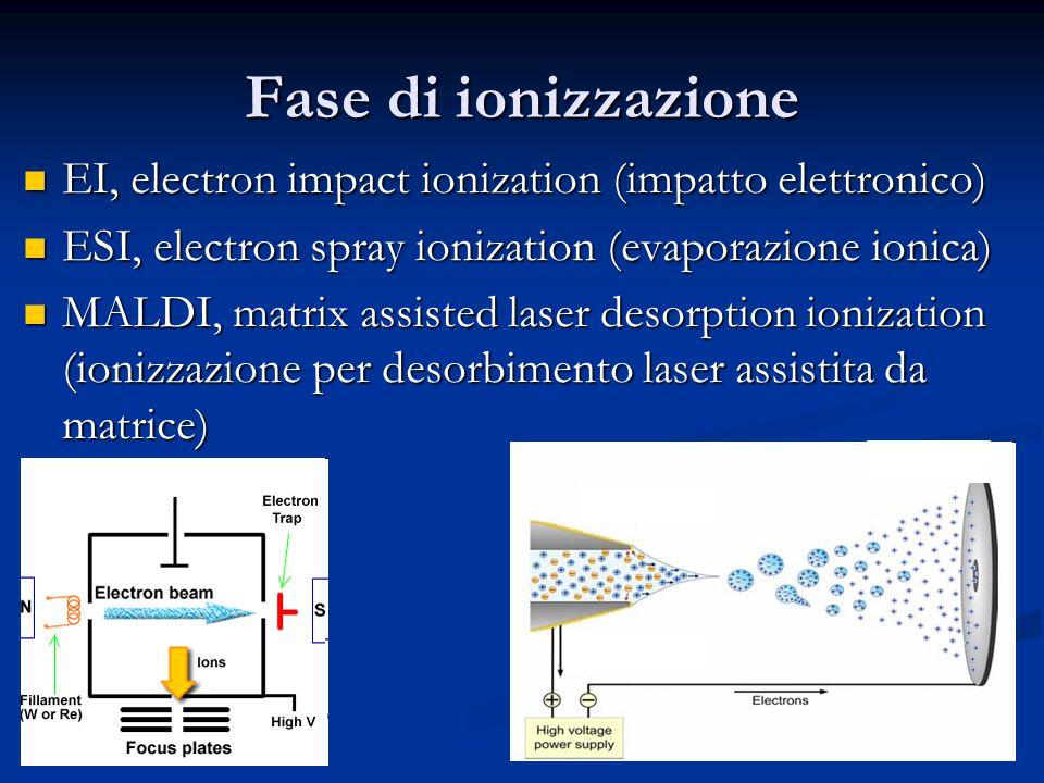 Fase di ionizzazione EI, electron impact ionization (impatto elettronico) EI, electron impact ionization (impatto elettronico) ESI, electron spray ion