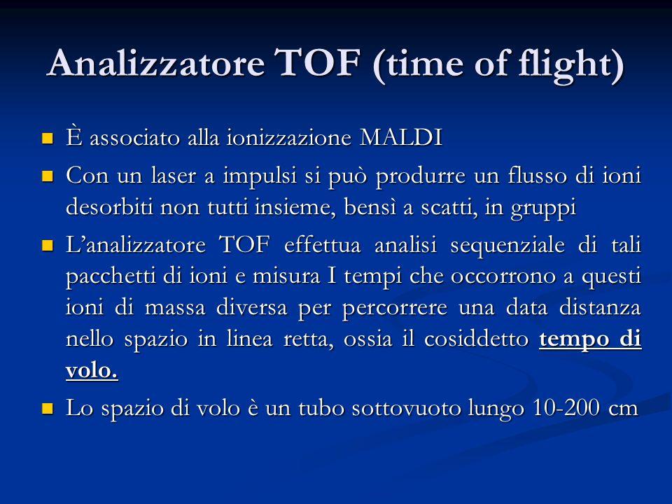 Analizzatore TOF (time of flight) È associato alla ionizzazione MALDI È associato alla ionizzazione MALDI Con un laser a impulsi si può produrre un fl