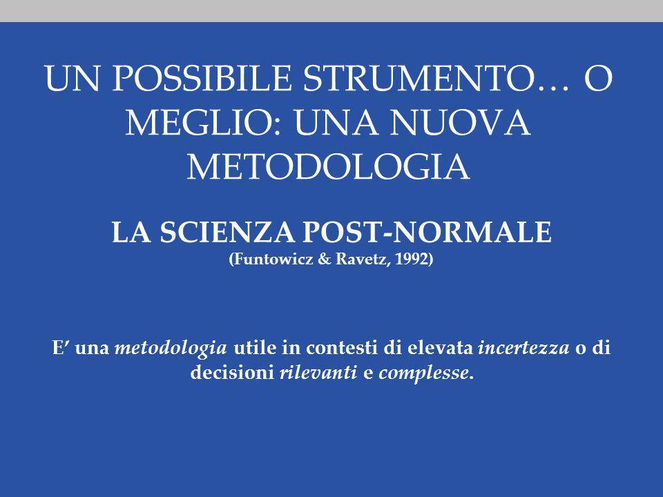 UN POSSIBILE STRUMENTO… O MEGLIO: UNA NUOVA METODOLOGIA LA SCIENZA POST-NORMALE (Funtowicz & Ravetz, 1992) E' una metodologia utile in contesti di elevata incertezza o di decisioni rilevanti e complesse.