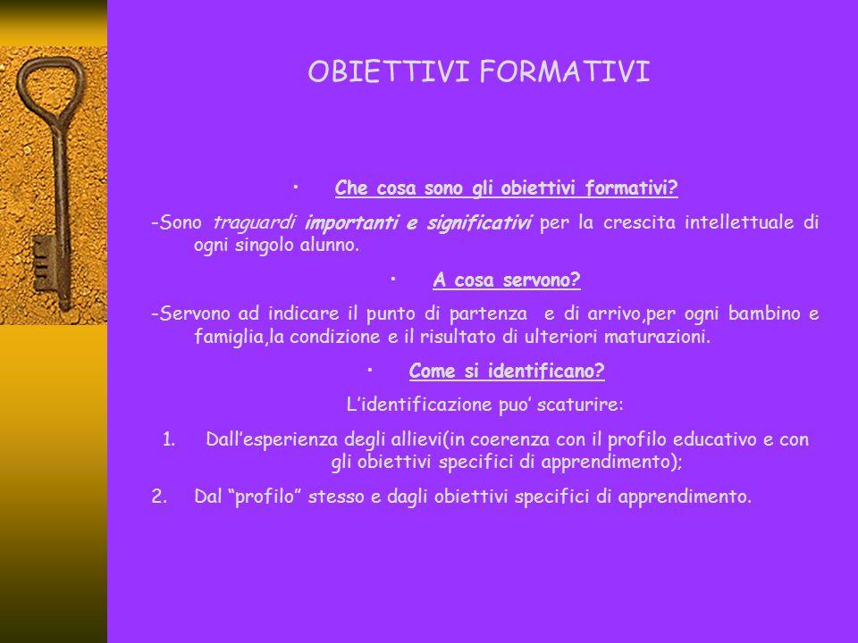 Contenuto degli obiettivi formativi Gli obiettivi formativi devono focalizzare un contenuto di apprendimento che sia: UNITARIO,sia nel senso che sia relativamente autonomo ed isolabile rispetto al resto,sia che sia capace di unificare il fine formativo e gli scopi didattici; ARTICOLABILE,cioe' divisibile nelle sue parti costitutive(conoscenze –abilita',capacita'- competenze); CONCRETO-ORGANICO,cioe' costituito da parti ordinate e funzionali; SENSATO E MOTIVANTE,cioe' che abbia in se' senso e motivazione.