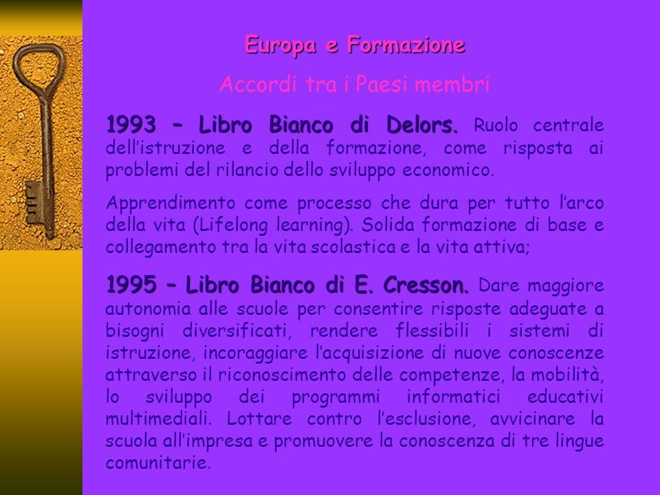 Europa e Formazione Accordi tra i Paesi membri 2000 – Consiglio Europeo di Lisbona.