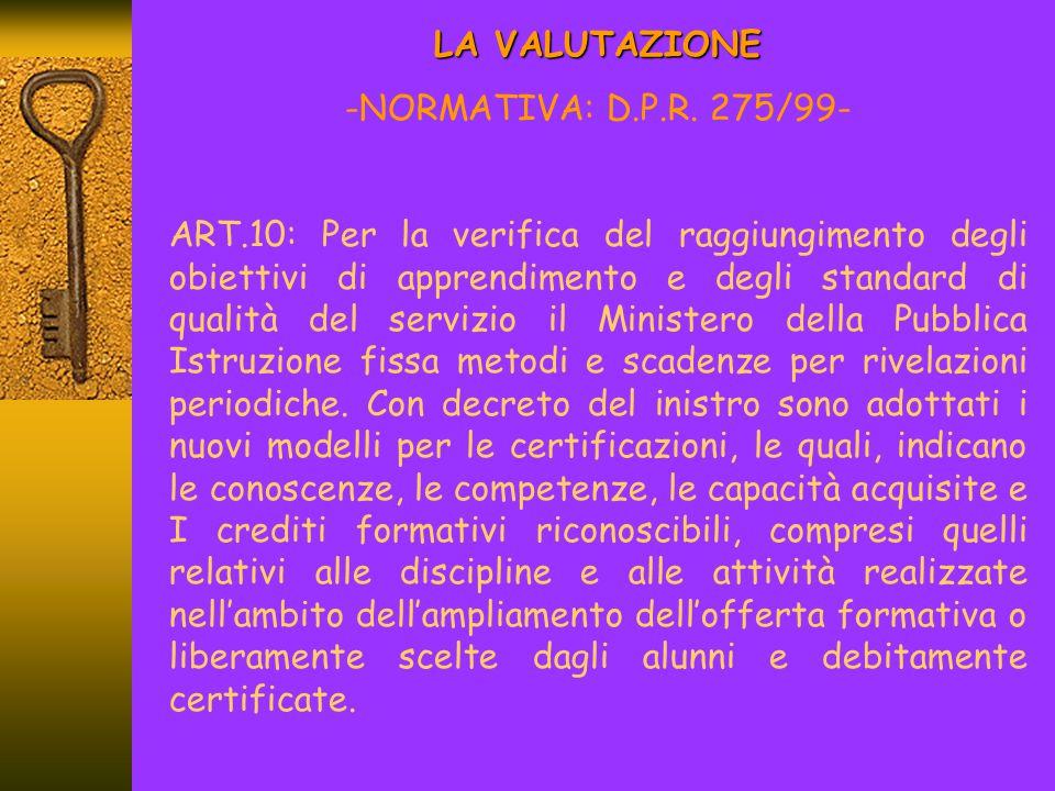 LA NUOVA SCUOLA -VALUTAZIONE- D.to L.vo 20.07.1999, n.