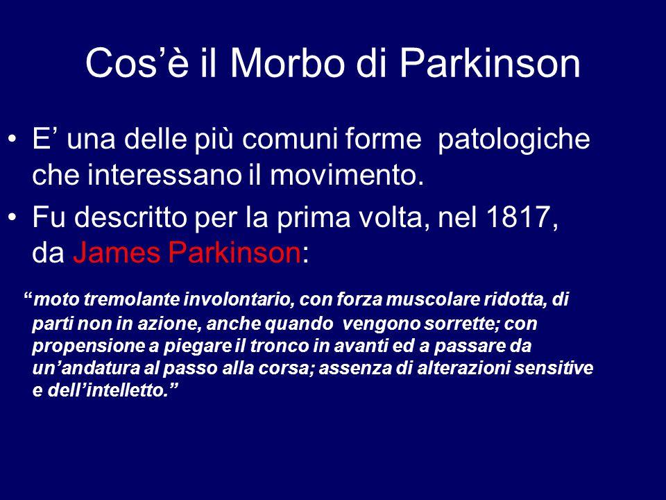 Cos'è il Morbo di Parkinson E' una delle più comuni forme patologiche che interessano il movimento. Fu descritto per la prima volta, nel 1817, da Jame