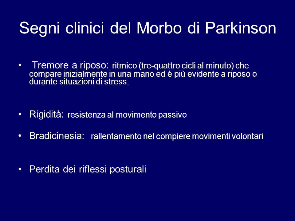 Segni clinici del Morbo di Parkinson Tremore a riposo: ritmico (tre-quattro cicli al minuto) che compare inizialmente in una mano ed è più evidente a