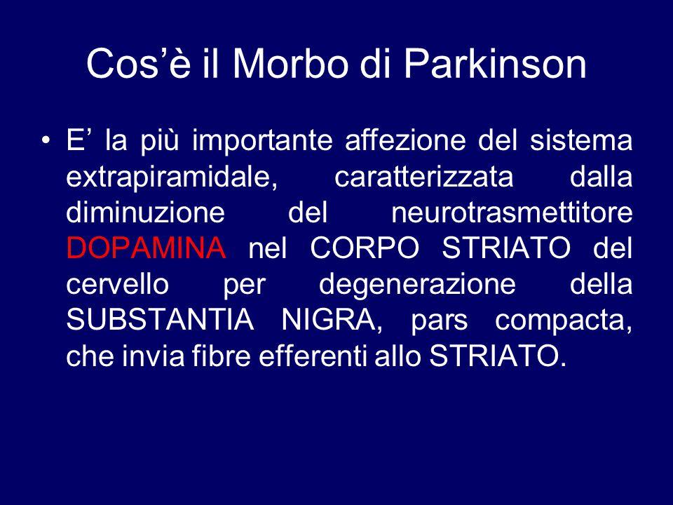 Cos'è il Morbo di Parkinson E' la più importante affezione del sistema extrapiramidale, caratterizzata dalla diminuzione del neurotrasmettitore DOPAMI