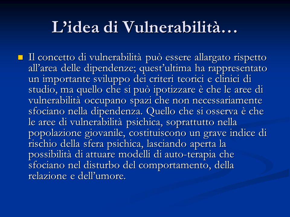 L'idea di Vulnerabilità… Il concetto di vulnerabilità può essere allargato rispetto all'area delle dipendenze; quest'ultima ha rappresentato un importante sviluppo dei criteri teorici e clinici di studio, ma quello che si può ipotizzare è che le aree di vulnerabilità occupano spazi che non necessariamente sfociano nella dipendenza.
