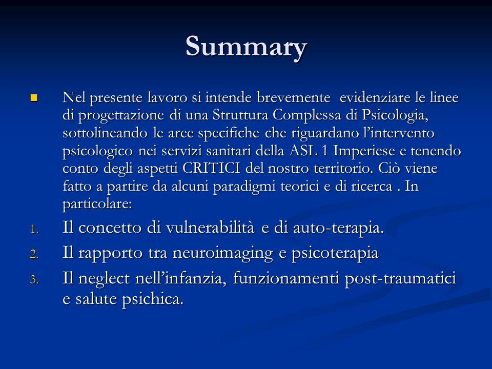 Summary Nel presente lavoro si intende brevemente evidenziare le linee di progettazione di una Struttura Complessa di Psicologia, sottolineando le aree specifiche che riguardano l'intervento psicologico nei servizi sanitari della ASL 1 Imperiese e tenendo conto degli aspetti CRITICI del nostro territorio.