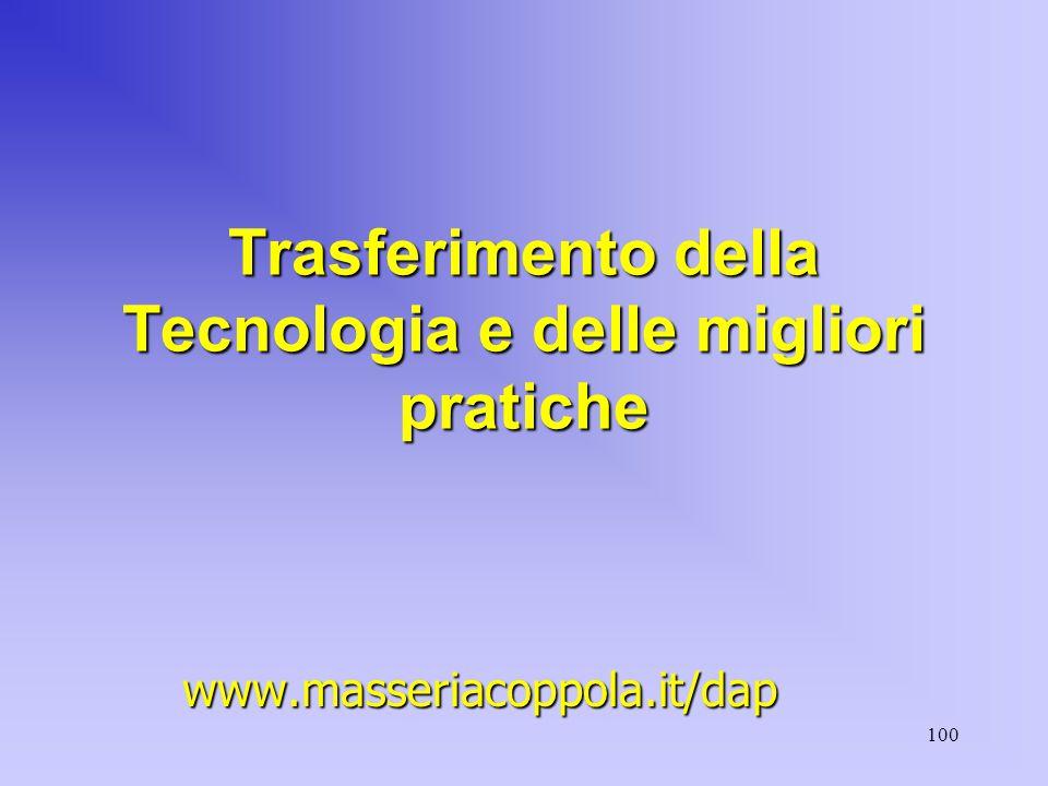 100 Trasferimento della Tecnologia e delle migliori pratiche www.masseriacoppola.it/dap