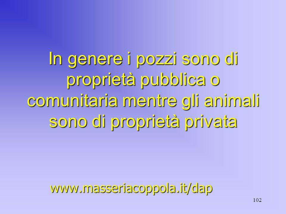 102 In genere i pozzi sono di proprietà pubblica o comunitaria mentre gli animali sono di proprietà privata www.masseriacoppola.it/dap
