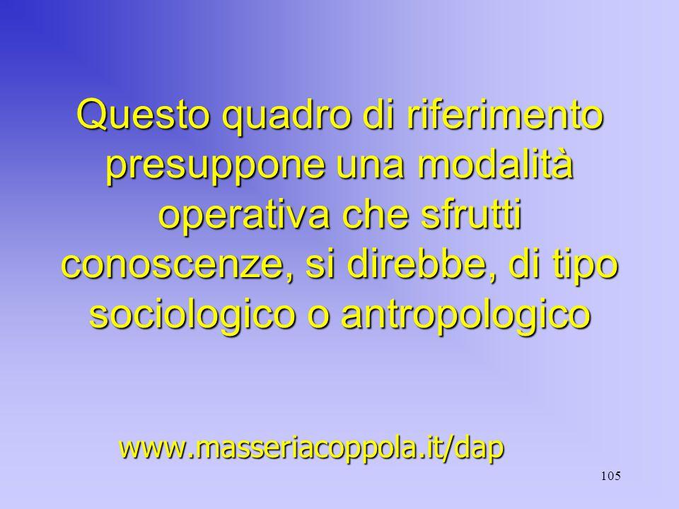 105 Questo quadro di riferimento presuppone una modalità operativa che sfrutti conoscenze, si direbbe, di tipo sociologico o antropologico www.masseriacoppola.it/dap