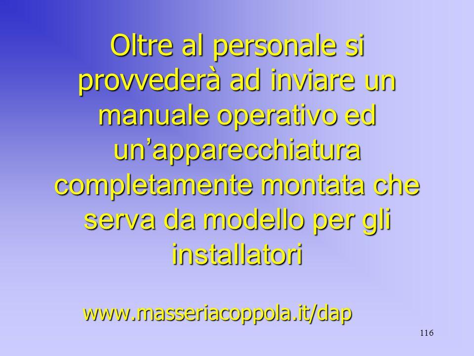 116 Oltre al personale si provvederà ad inviare un manuale operativo ed un'apparecchiatura completamente montata che serva da modello per gli installatori www.masseriacoppola.it/dap