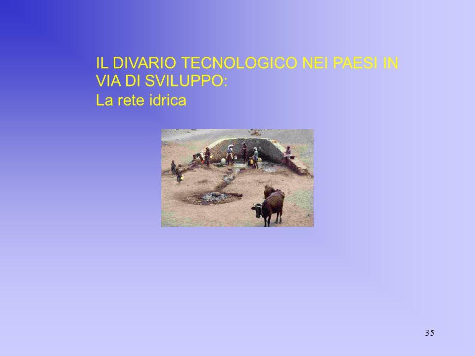 35 IL DIVARIO TECNOLOGICO NEI PAESI IN VIA DI SVILUPPO: La rete idrica