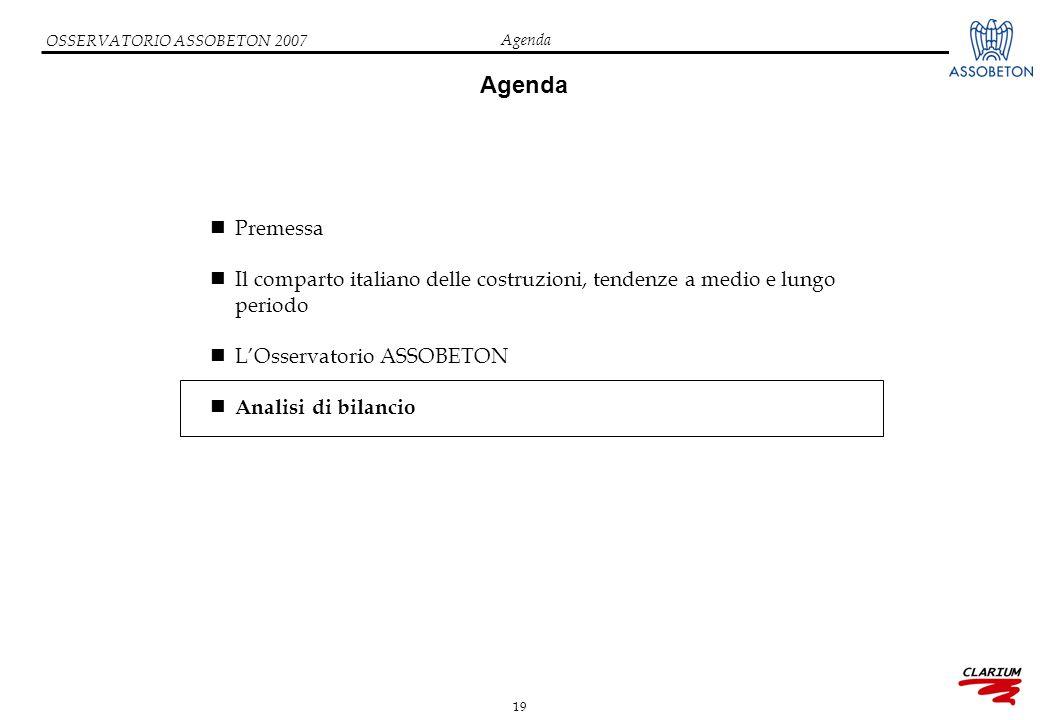19 OSSERVATORIO ASSOBETON 2007 Agenda Premessa Il comparto italiano delle costruzioni, tendenze a medio e lungo periodo L'Osservatorio ASSOBETON Analisi di bilancio Agenda