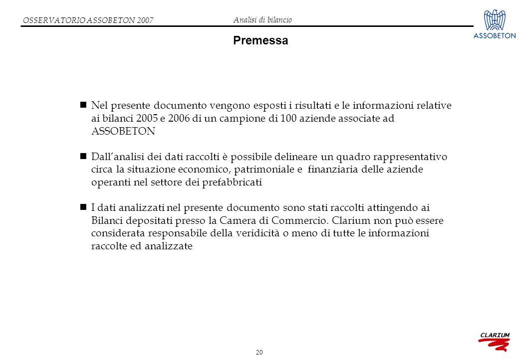 20 OSSERVATORIO ASSOBETON 2007 Premessa Nel presente documento vengono esposti i risultati e le informazioni relative ai bilanci 2005 e 2006 di un cam